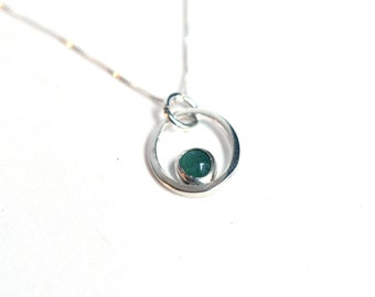 Sterling Silver and Green Chrysoprase Necklace on 18 Inch Chain