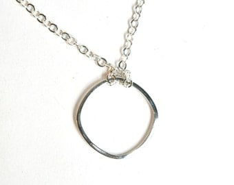 Rounded Square Sterling Silver Necklace on 20 Inch Chain