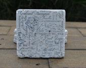 Wine Collage Natural Stone Coasters. Set of 4. Housewarming, Wedding, Home Decor