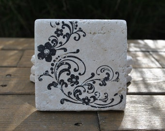 Floral Scroll Natural Stone Coasters. Set of 4. Housewarming, Hostess, Home Decor.