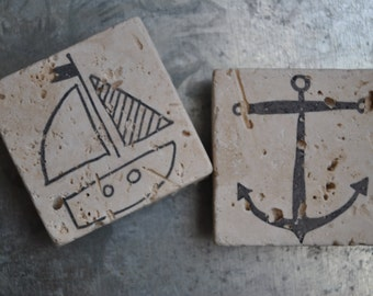 Nautical Magnets or Ornaments. Set of 2. Anchor, Sailboat, For Him, Her, Host, Hostess