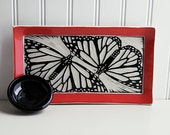 Appetizer/Sushi Set with Black and White Butterfly Design