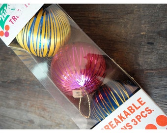 Vintage Satin and Tinsel Ornaments - Made in USA - Set of 3