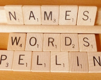 Scrabble Tiles 10 singles you choose any Letters WOODEN Game Pieces names magnet craft jewelry coaster part replacements