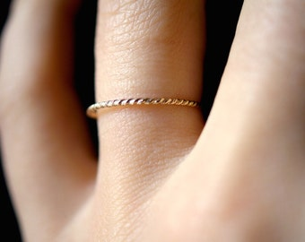 Gold Twist ring, Gold fill Rope ring, gold fill stack ring, stackable gold twist ring, gold twist stack ring, skinny stack ring
