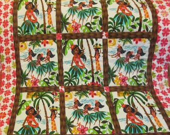 Hawaiian Hula Baby Girl Crib Quilt 33 x 41 inches in Leis, Luaus & Alohas - Alexander Henry, in cotton and flannel for nursery bedding