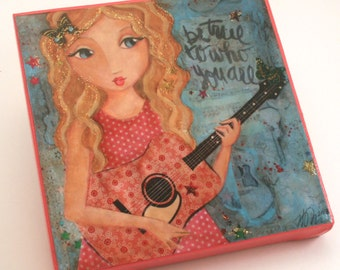 Country Music Art- Tween Girls Art - Music Decor - Mixed Media Art Print - Gift for Tween- Gift Under 20-  Canvas - Size 6x6""