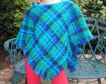 Vintage Wool Boucle Poncho - Sizes 8-12