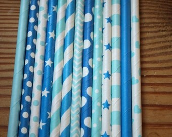 30 Cinderella Party Straws, Paper Straws, Assorted Patterns, Shades of Blue