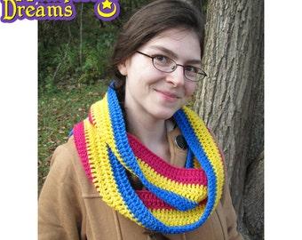 Pansexual Pride Scarf Crochet Infinity