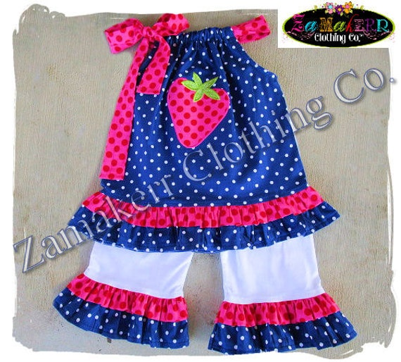 Custom Boutique Clothing Girl Strawberry Outfit Pant Set Pageant Top Ruffle Birthday 3 6 9 12 18 24 month size 2t 2 3t 3 4t 4 5t 5 6 7