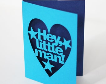 Hey Little Man Papercut New Baby Boy Congratulations Card - Bright Blue