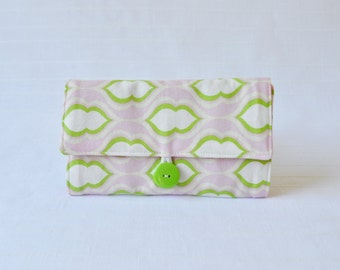 Jewelry Roll - Pocketbook in Pink and Green