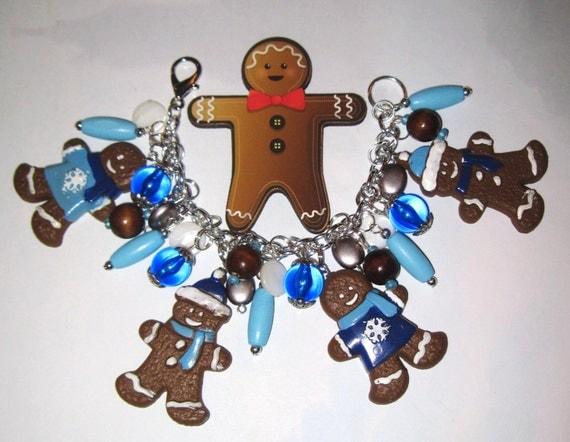Christmas Charm Bracelet Gingerbread Man Bracelet Gingerbread Man Charm Bracelet Cookies Christmas Bracelet Winter Christmas Jewelry OOAK