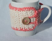 Crochet coffee mug cozy, reusable coffee cup sleeve, crochet mug warmer,  100% cotton - peach/ cream/ tan