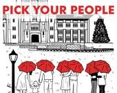 Virginia Tech 5x7 print- Pick your couple and umbrella color!