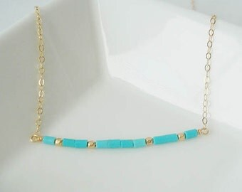 Delicate Turquoise Heishi Necklace