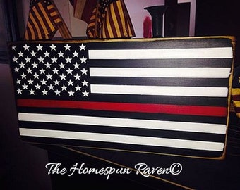 Thin Red Line Primitive Flag Firefighter Firefighting Wood Sign Plaque