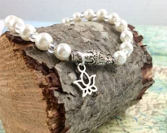 Pearl Bracelet with Lotus Charm