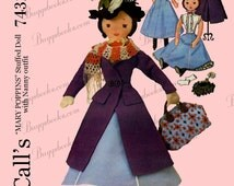 Vintage McCalls 7432 - Mary Poppins Doll and Clothes Sewing Pattern PDF file