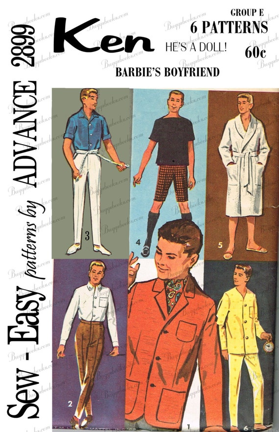 Vintage Advance 2899 Ken Doll Sewing Pattern PDF Pattern