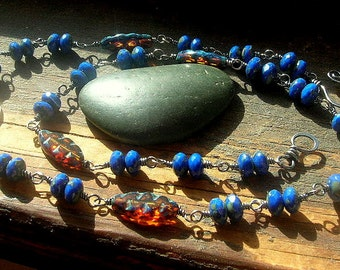 Brass Patterned Coin Links Cobalt Czech glass Brown Czech glass wire wrapped and sterling silver necklace