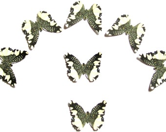 24 Black  & Creamy White Lace Butterflies for DIY weddings,  butterfly baby shower, DIY butterfly school kit, wall décor, stocking stuffers