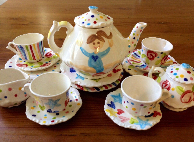 gymnastics little girls tea party china tea set by hollyslay. Black Bedroom Furniture Sets. Home Design Ideas