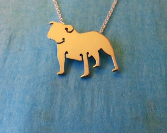Sterling Silver English Bulldog Necklace