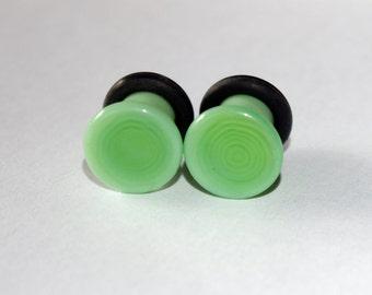 4g Pastel Green glass EAR plugs BODY JEWELRY 5mm handmade new 4 gauge