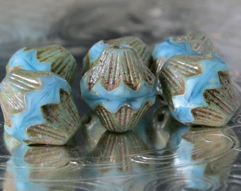 Baby Blue Czech Glass Bead 13x11mm Carved Baroque Bicone : 6 pc Blue Bicone Bead