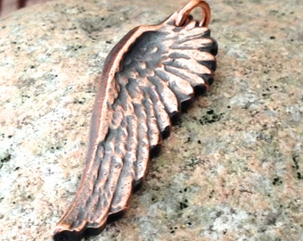 Copper Wing Pendant, Focal Pendant, Rustic Jewelry, Angel Wing, Bird Wing