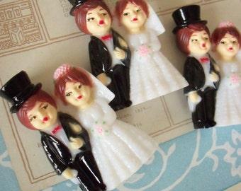 Modern Vintage Bridal  / Wedding Bride and Groom / Set of Three / Miniatures / Cupcake Toppers
