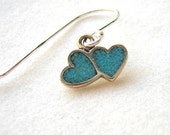 Dainty Feminine Double Turquoise Tiny Heart Charm Dangle Drop Pierced Earrings on Sterling Silver Ear Wires