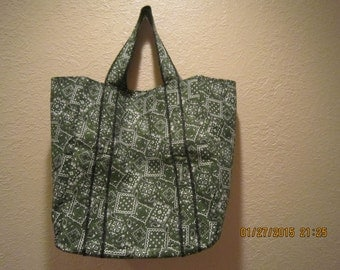 """Extra Large Durable 14"""" Grocery Shopper Tote Bag Black & Green Bandana  CLEARANCE 40% Off  Was 17.00*"""