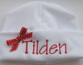 Personalized Embroidered Monogrammed Baby Hat with Red Bow