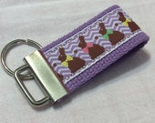 CHOCOLATE BUNNIES EASTER  Mini Key Fob    ribbon / fabric on heavy cotton webbing  Buy 3 Get 1 Free