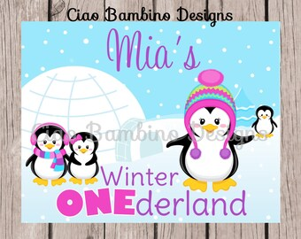 PRINTABLE Penguin Birthday Sign / Print Your Own Personalized Winter ONEderland Sign for Birthday/ Penguin Winter Wonderland / 0013