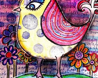 Bird art I Feel Pretty bird flowers tree painting print painting leaves bird in tree