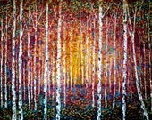 SALE Large Giclee Canvas  print40 x 30 x 3/4  Golden Autumn Birch Trees  by  Vadal reg price 165