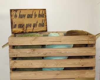 Large Rustic Country Wedding Wooden Crate Box Blankets Flip Flops Shoes Card Holder To have and to hold cold Beach Barn Weddings