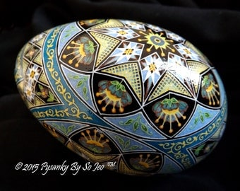 Blue Over The Rainbow Pysanka Pysanky Batik Ukrainian Style Easter Egg Art EBSQ