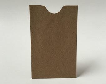 100 Kraft Mini Envelopes Notched Edge, Brown Bag Envelopes, Gift Card Holder, Business Card Envelope, Gift Certificate Envelope