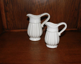 Ceramic White Decorative Pitcher Set