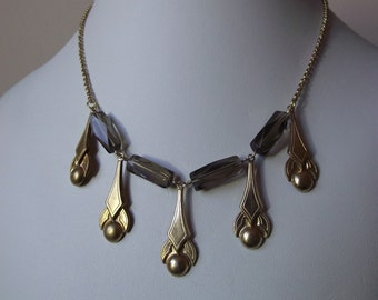 Brass Chain Link Necklace with Smoky Quartz and Art Deco Drops