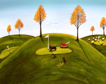 Scottie Scotty Dog Golf Large Folk Art Print by Todd Young AT THE LINKS