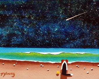 Beagle Hound Dog Beach folk art PRINT of Todd Young painting NIGHT BEACH