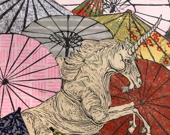 Unicorn Amongst Umbrellas XXVII- Multimedia - Lino Block Print Unicorn with Parasols on Collaged Japanese Papers