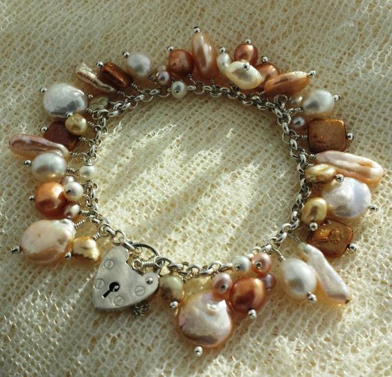 Golden Days Sterling Silver Freshwater Pearl Charm Bracelet