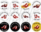 """1"""" Inch Dorothy's Ruby Slippers Flatback Buttons, Pins or Magnets 12 Ct."""